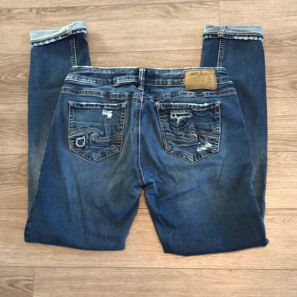 Silver Aiko jeans distressed mid skinny 29/31